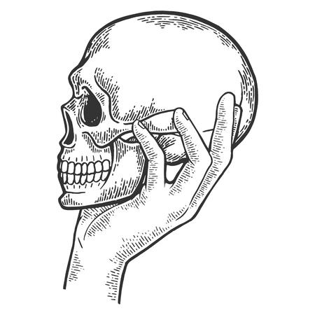 Crâne humain à la main croquis illustration vectorielle de gravure. Imitation de style planche à gratter. Image dessinée à la main en noir et blanc.