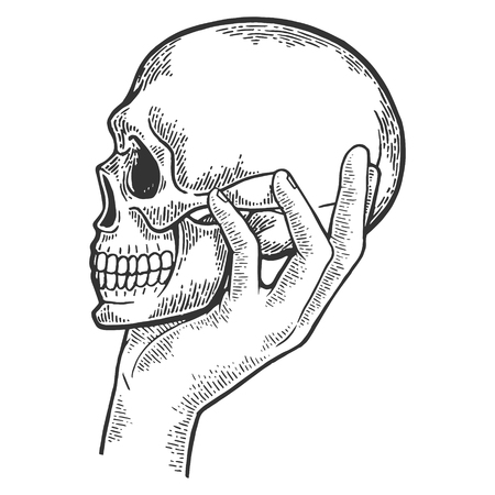 Human skull in hand sketch engraving vector illustration. Scratch board style imitation. Black and white hand drawn image.