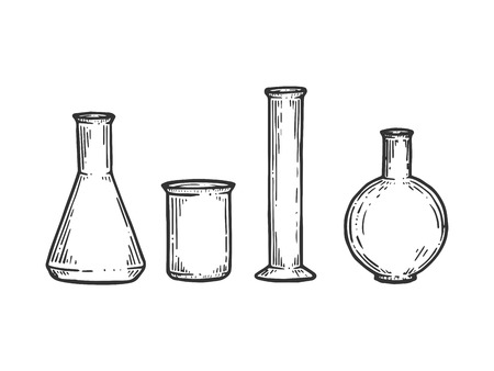 Chemical laboratory flasks sketch engraving vector illustration. Scratch board style imitation. Black and white hand drawn image. Çizim