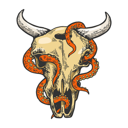 Octopus in cow skull color sketch vector