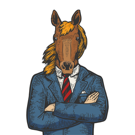 Horse head businessman color sketch engraving vector illustration. Scratch board style imitation. Black and white hand drawn image.