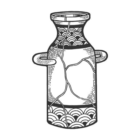 Repaired Japan vase kintsugi art sketch engraving vector illustration. Scratch board style imitation. Black and white hand drawn image. Illustration