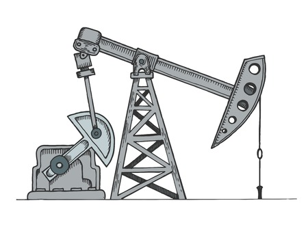 Oil rig color sketch engraving vector illustration. Scratch board style imitation. Hand drawn image. Ilustrace