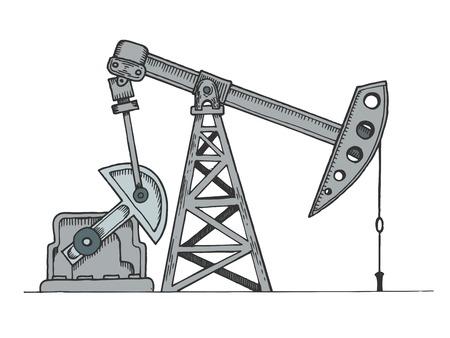 Oil rig color sketch engraving vector illustration. Scratch board style imitation. Hand drawn image. 일러스트