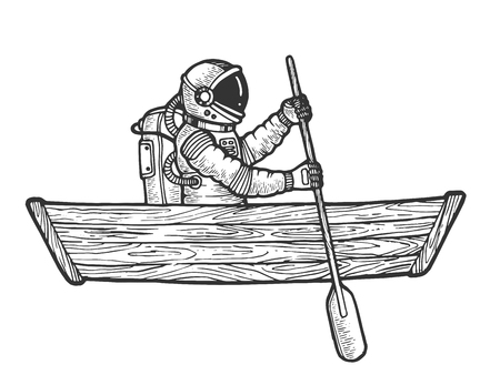 Astronaut spaceman rowing in wooden boat sketch engraving vector illustration. Scratch board style imitation. Black and white hand drawn image. Ilustração