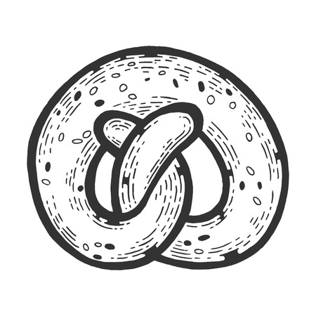 Kringle pretzel pastry bakery product sketch engraving vector illustration. Scratch board style imitation. Black and white hand drawn image.  イラスト・ベクター素材
