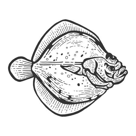 Flounder flatfish plaice fish animal sketch engraving vector illustration. Scratch board style imitation. Black and white hand drawn image.