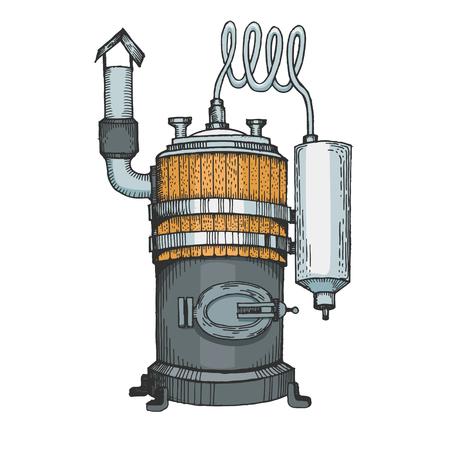 Alcohol distilling machine color sketch line art engraving vector illustration. Moonshine. Scratch board style imitation. Hand drawn image.