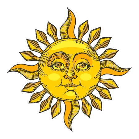 Sol con el color de la cara dibujo línea arte grabado ilustración vectorial. Imitación de tablero de rascar. Imagen dibujada a mano.
