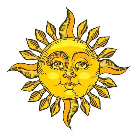 Soleil avec illustration vectorielle de visage couleur croquis ligne art gravure. Imitation de style planche à gratter. Image dessinée à la main.