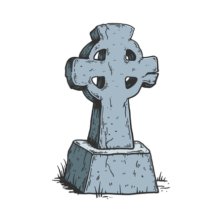 Ancient cross tombstone color sketch line art engraving vector illustration. Isolated image on white background. Scratch board style imitation. Hand drawn image. Banque d'images - 124033619