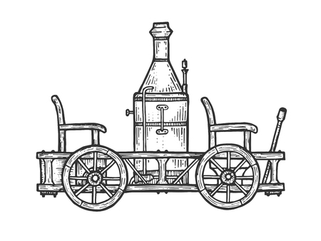 Old steam car transport sketch line art engraving vector illustration. Scratch board style imitation. Black and white hand drawn image.