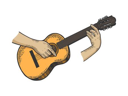 Hände spielen akustische Gitarre Saiteninstrument Farbskizze Linie Kunst Gravur Vector Illustration. Nachahmung im Scratchboard-Stil. Handgezeichnetes Schwarz-Weiß-Bild.