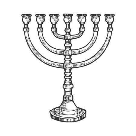 Menorah alten hebräischen Leuchter Religion Symbol Linie Kunst Skizze Gravur Vektor-Illustration. Nachahmung im Scratchboard-Stil. Handgezeichnetes Bild. Vektorgrafik