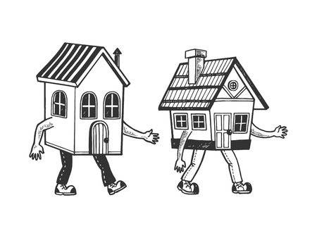 Houses walking on its feet sketch line art engraving vector illustration. Scratch board style imitation. Black and white hand drawn image.