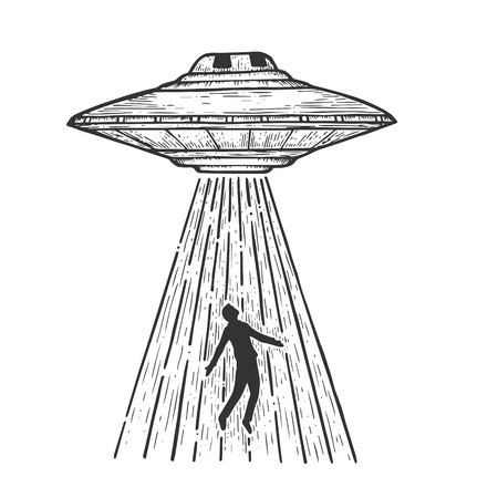 UFO Flying saucer kidnaps human person sketch line art engraving vector illustration. Scratch board style imitation. Black and white hand drawn image. Illustration