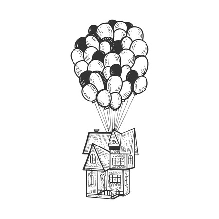 Fantastic fabulous house is flying on air balloons sketch line art engraving vector illustration. Scratch board style imitation. Black and white hand drawn image. Ilustração
