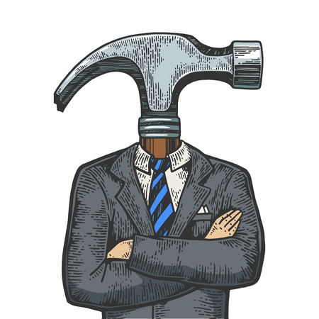 Hammer head businessman color sketch line art engraving vector illustration. Scratch board style imitation. Black and white hand drawn image. Illustration