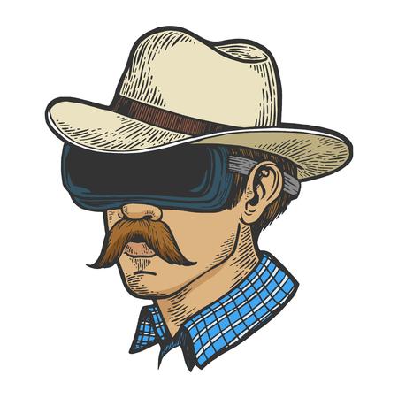 Cowboy head in VR helmet glasses color sketch line art engraving vector illustration. Scratch board style imitation. Hand drawn image. Ilustração