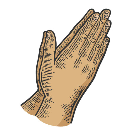Prayer hands gesture color sketch line art engraving vector illustration. Scratch board style imitation. Black and white hand drawn image.