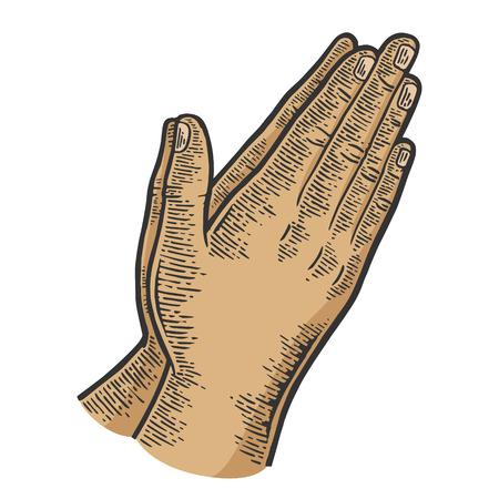Prière mains geste couleur croquis ligne art gravure illustration vectorielle. Imitation de style planche à gratter. Image dessinée à la main en noir et blanc.