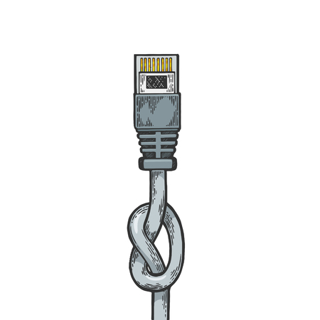 Knotted blocked internet locale net cable metaphor color sketch line art engraving vector illustration. Scratch board style imitation. Hand drawn image. 일러스트