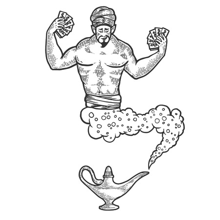 Magical fabulous genie Djinn out of magic lantern with dollars money sketch line art engraving vector illustration. Scratch board style imitation. Black and white hand drawn image. Banque d'images - 123336726