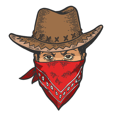 Cabeza de vaquero en bandido gángster máscara bandana color boceto línea arte grabado ilustración vectorial. Imitación de tablero de rascar. Imagen dibujada a mano.
