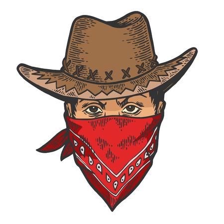 Tête de cow-boy en bandit gangster masque bandana couleur croquis dessin au trait gravure illustration vectorielle. Imitation de style planche à gratter. Image dessinée à la main.