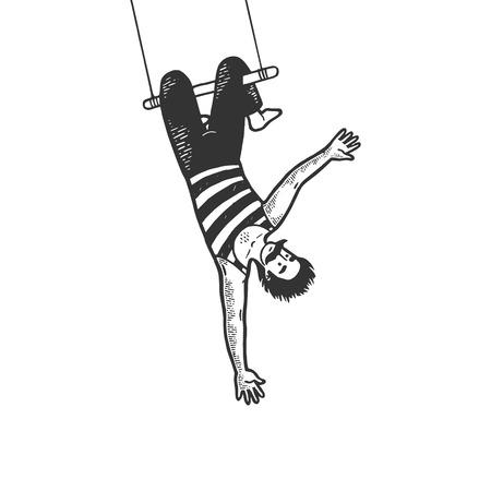 Acrobata del circo appeso sul trapezio prestazioni schizzo linea arte incisione illustrazione vettoriale. Imitazione di stile scratch board. Immagine disegnata a mano in bianco e nero. Vettoriali