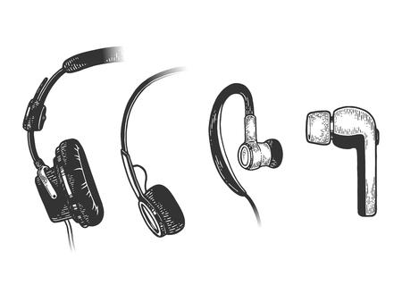 Headphone evolution sketch line art engraving vector illustration. Scratch board style imitation. Hand drawn image.