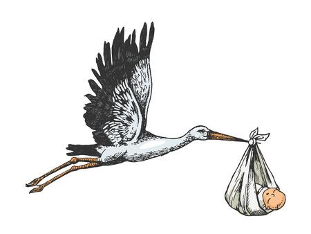 La gru della cicogna trasporta l'illustrazione di vettore dell'incisione di schizzo di colore del bambino. Imitazione di stile scratch board. Immagine disegnata a mano.