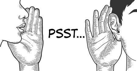 Murmure avec la main près de la bouche à l'oreille croquis dessin au trait illustration vectorielle de gravure. Imitation de style planche à gratter. Image dessinée à la main en noir et blanc.
