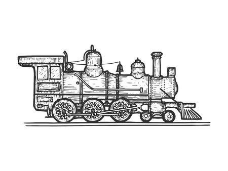 Oude stoomlocomotief trein vervoer schets lijnwerk gravure vectorillustratie. Imitatie in de stijl van een krasbord. Zwart-wit hand getekende afbeelding.