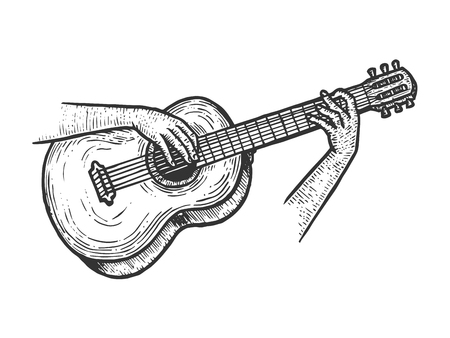 Hands playing acoustic guitar string instrument sketch engraving vector illustration. Scratch board style imitation. Black and white hand drawn image. Ilustração