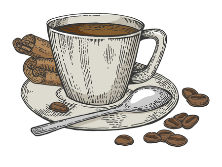 Cup of coffee and beans color sketch engraving vector illustration. Scratch board style imitation. Hand drawn image.
