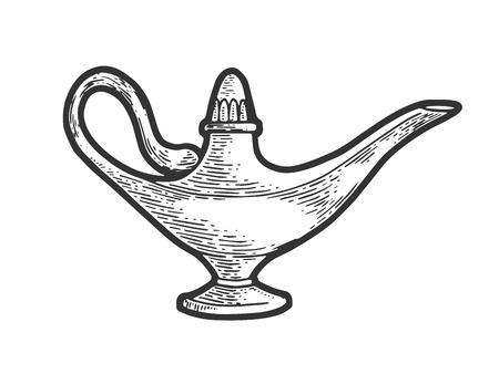 Magic lantern sketch line art engraving vector illustration. Scratch board style imitation. Black and white hand drawn image. Standard-Bild - 123321830