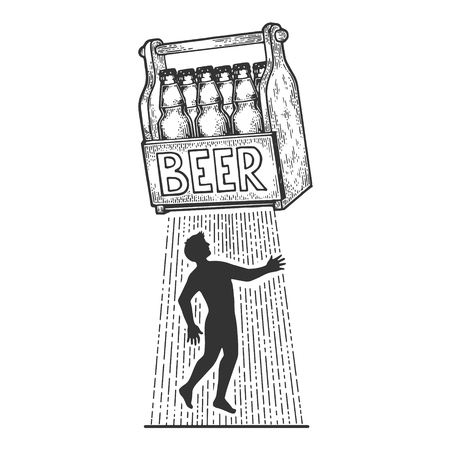 Beer kidnaps human person sketch engraving vector illustration. Scratch board style imitation. Black and white hand drawn image.