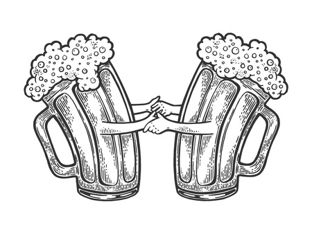 Beer mug cup couple in dance sketch engraving vector illustration. Scratch board style imitation. Black and white hand drawn image. Иллюстрация