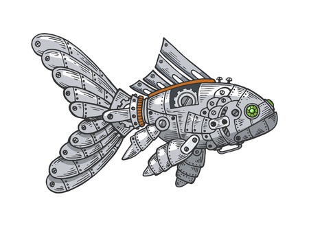 Mechanical fish animal color sketch engraving vector illustration. Scratch board style imitation. Black and white hand drawn image. Ilustração