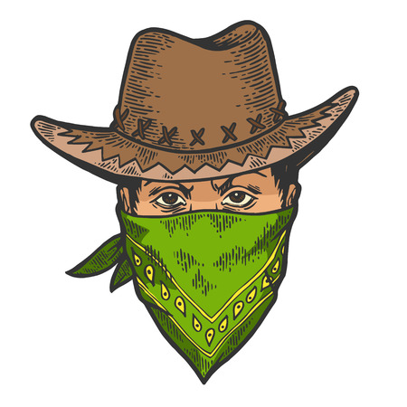 Cowboy head in bandit gangster mask bandana color sketch line art engraving vector illustration. Scratch board style imitation. Hand drawn image. Illustration