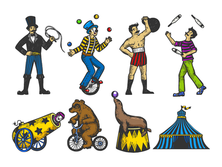 Retro circus performance set color sketch style vector illustration. Old hand drawn engraving imitation. Human and animals vintage drawings