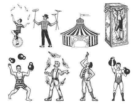 Retro circusvoorstelling instellen schets vectorillustratie. Oude hand getekende gravure imitatie. Vintage tekeningen van mens en dier