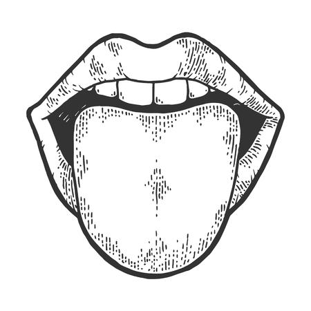 Zunge zeigt aus dem Mund Skizze Gravur Vektor-Illustration. Nachahmung im Scratchboard-Stil. Handgezeichnetes Schwarz-Weiß-Bild.