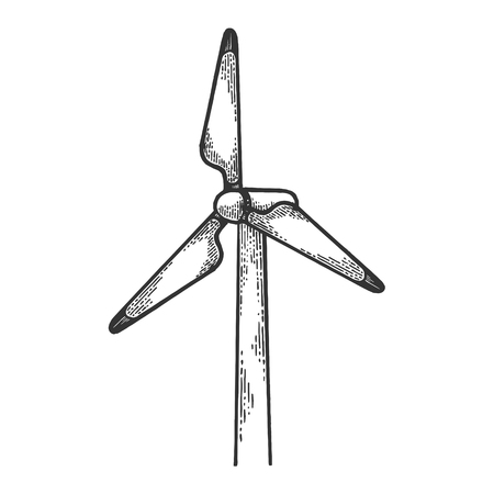 Wind turbine power plant Renewable energy industrial technology sketch engraving vector illustration. Scratch board style imitation. Hand drawn image.