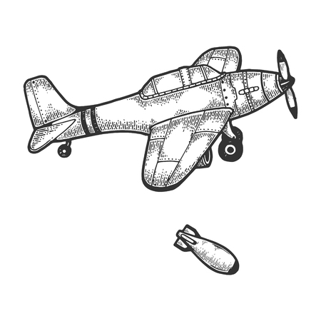 Bomber plane drops bomb sketch engraving vector illustration. Scratch board style imitation. Hand drawn image. 일러스트