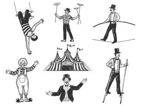 Retro-Zirkus-Performance-Set-Skizze-Vektor-Illustration. Alte handgezeichnete Gravur Nachahmung. Vintage-Zeichnungen von Menschen und Tieren