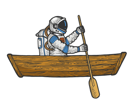 Astronaut spaceman rowing in wooden boat color sketch engraving vector illustration. Scratch board style imitation. Black and white hand drawn image. Ilustração