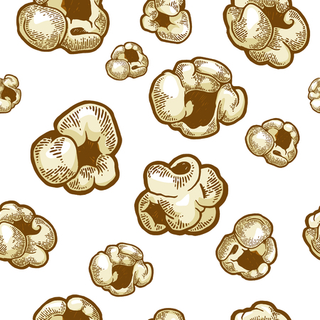 Popcorn food color sketch engraving seamless pattern vector illustration. Scratch board style imitation. Black and white hand drawn image.