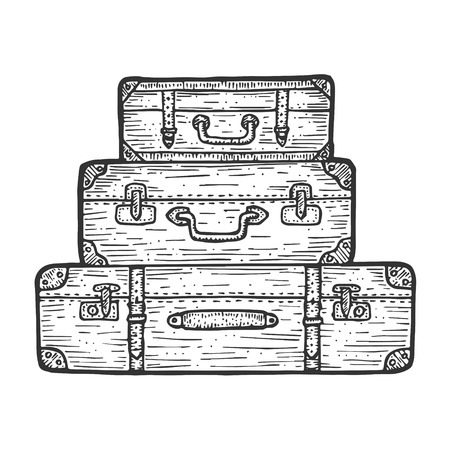 Maleta bolsa de viaje equipaje set boceto grabado ilustración vectorial. Imitación de tablero de rascar. Imagen dibujada a mano en blanco y negro. Ilustración de vector